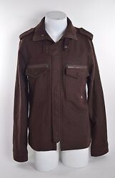 215 MENS HOLDEN BROWN WOOL JACKET $165 M USED military style zip button closure