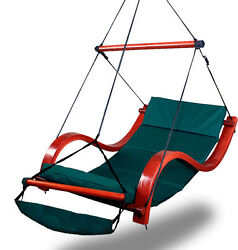 New Deluxe Hammock Air Chair Green Padded Hanging Chair Lounge Outdoor Patio