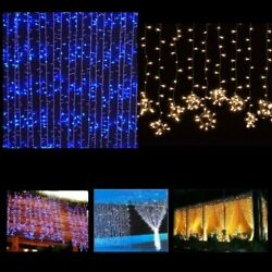 300 LED Outdoor Fairy Curtains String Lights for Wedding Party Xmas Decor $6.99