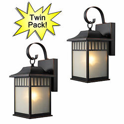 Oil Rubbed Bronze Outdoor Patio Porch Exterior Light Fixtures Twin Pack :73477