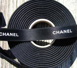 100% Authentic Chanel Black White Lettering Ribbon 916