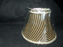 NEW FABRIC BLACK amp; GOLD STRIPED chandelier shade shades flame clip gold lining $40.00