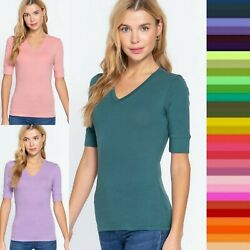 1XL 2XL 3XL Plus Size Women Elbow 3 4 Sleeve V Neck Cotton T shirt Tee Top T6671 $10.00