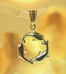 16MM SOLID 14K TRICOLOR GOLD 3D REVERSIBLE HAWAIIAN DOLPHIN CIRCLE CHARM PENDANT $68.00