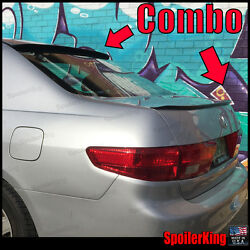 COMBO Spoilers (Fits: Honda Accord 2003-05 4dr) Rear Roof Wing & Trunk Lip