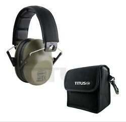 Low Profile Ear Muffs w Case 34 NRR Shooting Range Hearing Protection Drab Green $21.99