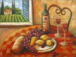 Ceramic Tile Mural Backsplash Morris Tuscan Fruit Wine Still Life Art JM019