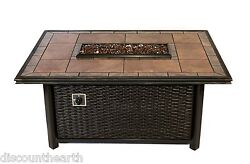 Dreffco Linear Wicker Fire Pit Table Rectangle Outdoor in Natural or Propane Gas