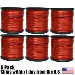 6PK 5lb .095 Square Red Commercial String Trimmer Line For Echo Stihl Redmax