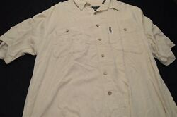 Field and Stream large Silk Rayon Tan Button Short Sleeve Men's Shirt