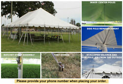 30x30 White Vinyl Classic Pole Tent for Wedding Outdoor Event Party Catering
