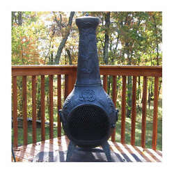 Rose Design Chiminea Wood Burning Outdoor Fireplace