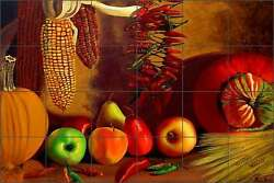 Ceramic Tile Mural Backsplash Hadjis Fruit Vegetables Kitchen Art MHA017