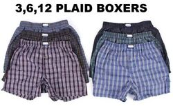 New 3 12 Mens Boxer Check Plaid Shorts Trunk Underwear Cotton Briefs Size S 4XL $26.99