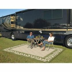 Outdoor Patio RV Mat Reversible Deck 9 x12 Rug Weather Camping Picnic Carpet Pad