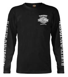 Harley Davidson Men#x27;s Skull Lightning Crest Graphic Long Sleeve Shirt Black $39.95