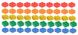 ☀️NEW LEGO 2x2 Bricks 50 Count 5 Assorted Colors Blue green yellow red orange $4.99