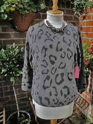 luxe new Gharani Strok 100% CASHMERE grey animal print jumper £295 bnwt large
