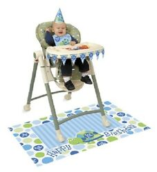 First (1st) Birthday (Boy) TURTLE HIGH CHAIR DECORATING KIT (PartyDecoration)