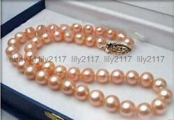 7-8MM Genuine Natural Pink Akoya Cultured Pearl Necklace 18