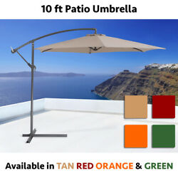 10FT Hanging Patio Umbrella Sun Shade Offset Outdoor Yard Market W Cross Base $75.99