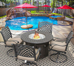 5 PC NASSAU OUTDOOR PATIO FURNITURE DINING SET WITH FIRE TABLE