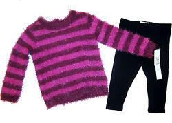 DKNY Sweater amp; Leggings Set girl 18 m pink purple striped amp; black outfit NEW $54 $14.99