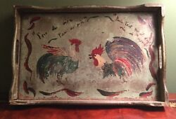 Antique TOLE PAINTING on Wood Early FOLK ART Painted Rooster Tray Primitive $59.00