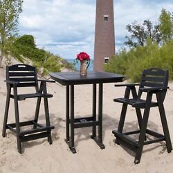 POLYWOOD and reg; Nautical 3 Pc. Recycled Plastic High Patio Dining Set