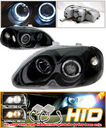 Fits Xenon HID 96-98 Civic Black 2 Halo Projector Headlights HID