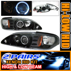 Fits 2 Set HID 94-98 Mustang Halo Projector Headlights 96 97