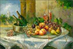 Ceramic Tile Mural Backsplash Ching Fruit Wine Still Life Art CHC070
