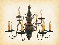 WOOD CHANDELIER - BLACK w MUSTARD & RED 2 TIER 12 CANDLE Handmade Colonial Light