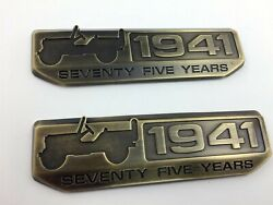 PAIR JEEP 1941 SEVENTY FIVE YEARS EMBLEMS 5-12 X 1-12 NEW SET $25.00