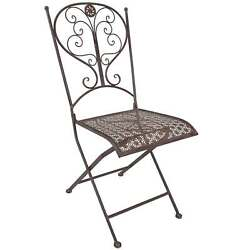 Titan Outdoor Antique Steel Folding Chair Porch Patio Garden Deck Decor Rustic