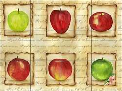 Ceramic Tile Mural Kitchen Backsplash Mullen Fruit Apples Art SM047