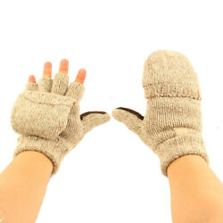 Men#x27;s Thinsulate 3M Thick Wool Knitted Half Mitten Suede Palm Gloves $13.49