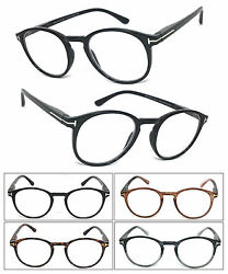1 or 3 Pair(s) Round Clear Lens Reader Reading Glasses Metal Accents $13.40