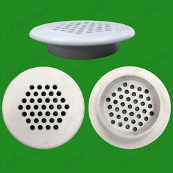 2x Roof Soffit Round Air Vents Eaves 48mm Grille 35mm Hole Push Fit Ventilation