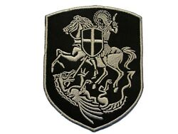 Knight St George on Horse Slaying Dragon Christian Embroidered Iron On Patch
