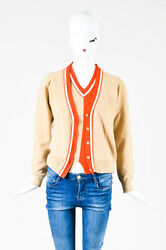 Chanel 02P Beige Coral Red Cashmere Braided Trim Cardigan Sweater Set SZ 44