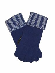BRIONI Leather Combination Gloves Mens Royal Blue Cashmere Knit Italy Sz M New