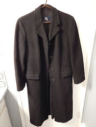 Burberry London Womans Cashmere Full Lenght Black Coat w Hidden Buttons: Size M
