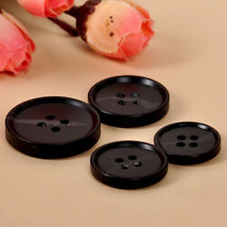 2050pcs Resin Buttons Round Black 4-holes Suit Sewing Crafts DIY Supplies