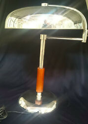 Highly Stylized Italian Art Deco Chrome Metal 1940s Table Lamp Working Pristine
