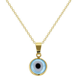 18k Gold Plated Protection Evil Eye Pendant Necklace Amulet Ladies 19