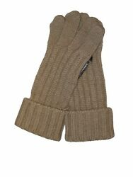 BRIONI Brand New Cashmere Knit Gloves Mens Oatmeal Brown Leather Combination M