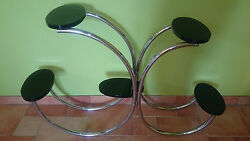 RARE Stylized Czech Art Deco Chrome & Lacquer EXTRAVAGANT Halabala Display Stand