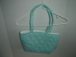 CHECKERED QUILTED LINED CLOTH TOTE SMALL GREEN BAG SEWING CRAFTING TOTE
