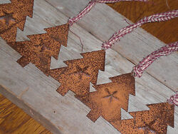 6 Primitive Holiday Rusty Christmas Trees Ornaments Ornies Gift Ties Party Decor